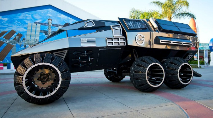 The Latest Concept for  NASA Mars Rover is  28 Foot-Long Six-Wheel-Drive Batmobile!